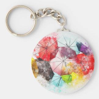Umbrellas  Colorful Abstract Key Ring