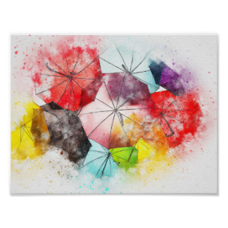 Umbrellas  Colorful Abstract Poster