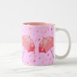 UMBRELLAS & HEARTS by SHARON SHARPE Two-Tone Coffee Mug