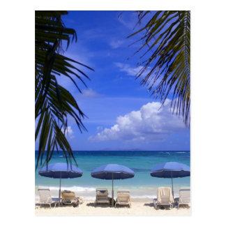 umbrellas on beach, St. Maarten, Caribbean Postcard