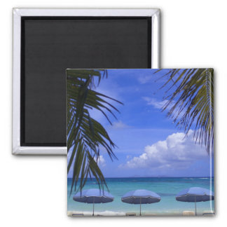 umbrellas on beach, St. Maarten, Caribbean Square Magnet