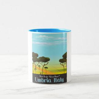Umbria Italy travel poster Two-Tone Coffee Mug