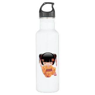Ume Kokeshi Doll - Japanese Peach Geisha Girl 710 Ml Water Bottle