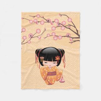 Ume Kokeshi Doll - Japanese Peach Geisha Girl Fleece Blanket