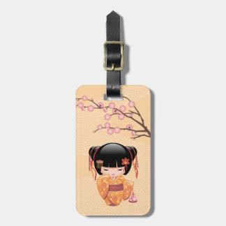 Ume Kokeshi Doll - Japanese Peach Geisha Girl Luggage Tag