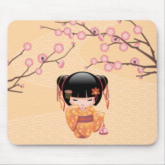 Ume Kokeshi Doll - Japanese Peach Geisha Girl Mouse Pad