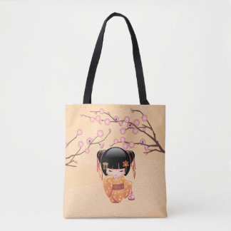 Ume Kokeshi Doll - Japanese Plum Geisha Girl Tote Bag