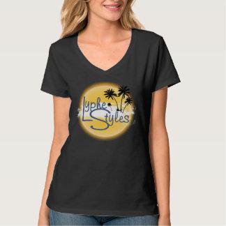 UMOL LypheStyles Logo Palm Trees Women's V-Neck Tees