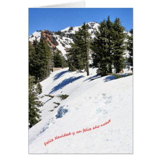 Una escena de invierno para la Navidad. Español. 3 Card
