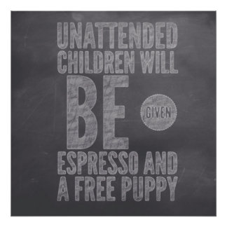 Unattended Children Pub Chalk Collection by M.A Poster