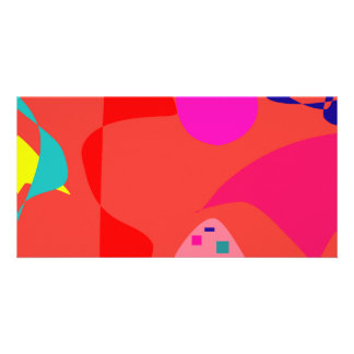 Unbalance Coral Red Custom Photo Card