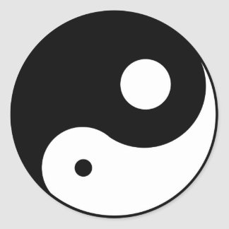 unbalanced yin yang symbol classic round sticker