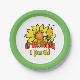 Unbelievable 1 Year Old - 1st Birthday 7 Inch Paper Plate