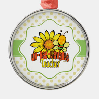 Unbelievable Teacher with Sunflowers and Bees Metal Ornament