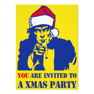 Uncl Sam Xmas Party 14 Cm X 19 Cm Invitation Card