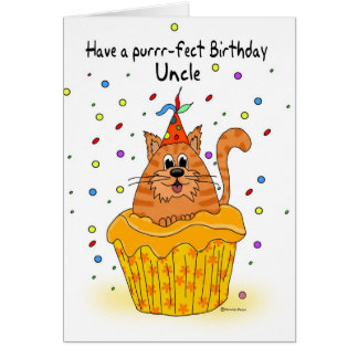 uncle birthday card with ginger cupcake cat