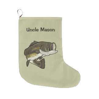 Uncle: Largemouth Bass Large Christmas Stocking