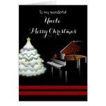 Uncle / Merry Christmas - Piano and White Tree Greeting Card