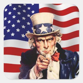 Uncle Sam 1 Square Sticker