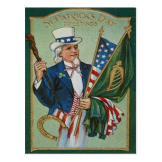 Uncle Sam American Irish Flag Lucky Horseshoe Postcard