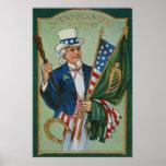 Uncle Sam American Irish Flag Lucky Horseshoe Poster