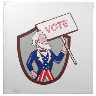 Uncle Sam American Placard Vote Crest Cartoon Napkin