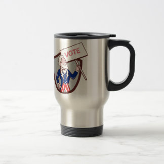 Uncle Sam American Placard Vote Crest Cartoon Travel Mug