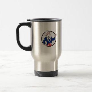 Uncle Sam American Waving Hand Circle Cartoon Travel Mug