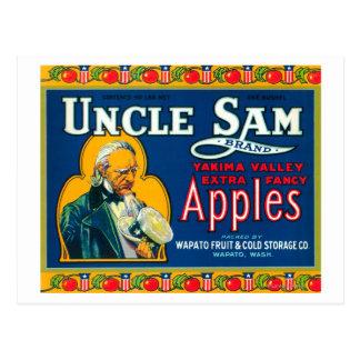 Uncle Sam Apple Label (blue) - Wapato, WA Postcards