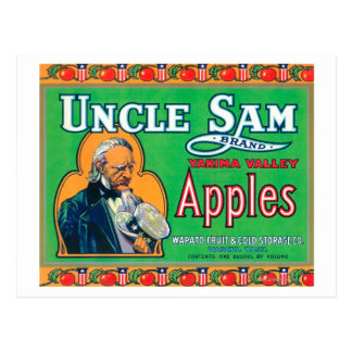 Uncle Sam Apple Label green - Wapato WA Post Card