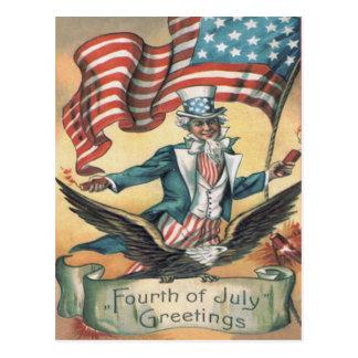 Uncle Sam Bald Eagle USA Flag Fireworks Postcard