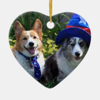 Uncle Sam & Betsy Ross Ceramic Heart Decoration