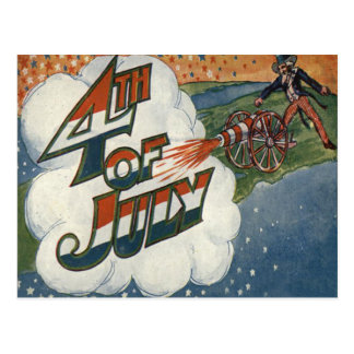 Uncle Sam Cannon Fire Stars 4th of July Postcard