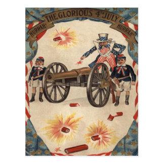 Uncle Sam Cannon Fireworks Firecracker Postcard
