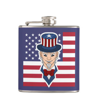 Uncle Sam cartoon Hip Flask