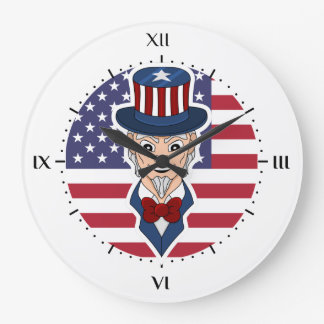 Uncle Sam cartoon Large Clock