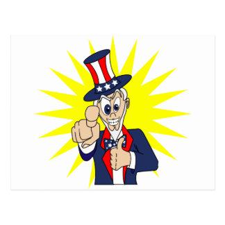 Uncle Sam Cartoon Postcard