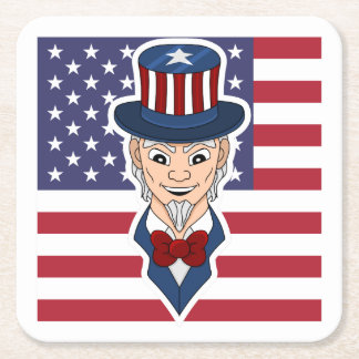 Uncle Sam cartoon Square Paper Coaster