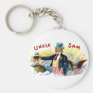 Uncle Sam Cigars July 4th Vintage Basic Round Button Key Ring