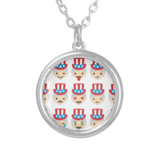 uncle sam emoji silver plated necklace