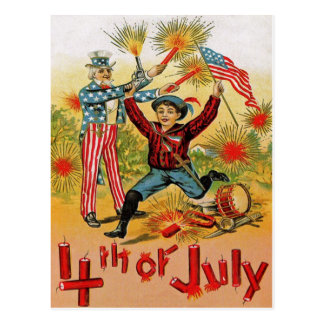 Uncle Sam Fireworks Child Vintage 4th of July Postcard