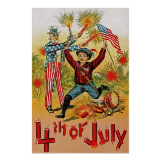 Uncle Sam Fireworks Child Vintage 4th of July Poster