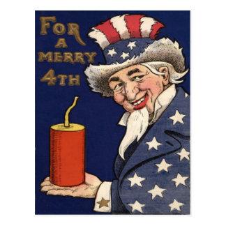 Uncle Sam Fireworks Firecracker Postcard
