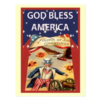 Uncle Sam, God Bless America Postcard