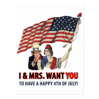 Uncle Sam Greetings For The Fourth Postcard