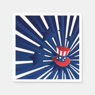 Uncle Sam hat and stars Paper Serviettes