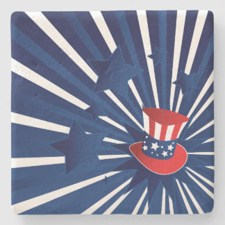 Uncle Sam hat and stars Stone Coaster