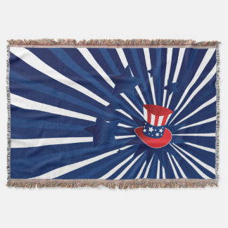 Uncle Sam hat and stars Throw Blanket