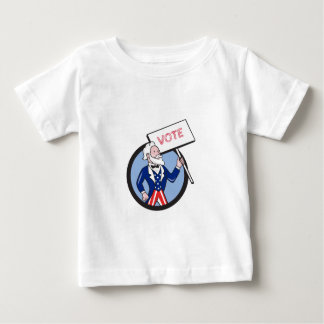 Uncle Sam Holding Placard Vote Circle Cartoon Baby T-Shirt