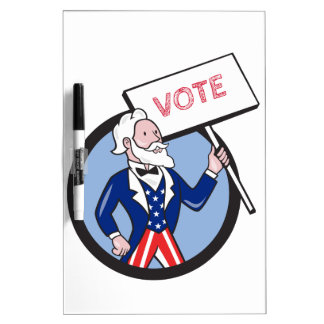 Uncle Sam Holding Placard Vote Circle Cartoon Dry Erase Board